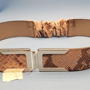 Michael Kors Logo Buckle Snake  Leather Belt M/L